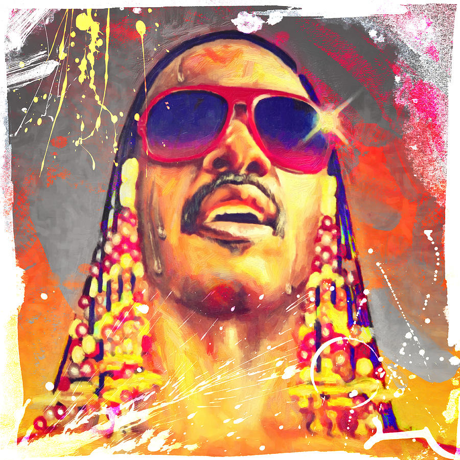 Stevie Wonder Digital Art  - Stevie Wonder Fine Art Print