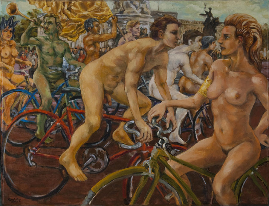 Steward Guiding Naked Bike Ride Outside Buckingham Palace Painting  - Steward Guiding Naked Bike Ride Outside Buckingham Palace Fine Art Print