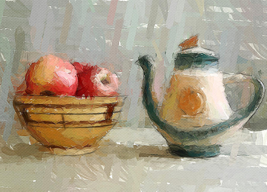 Still Life Apples And Tea Pot Digital Art