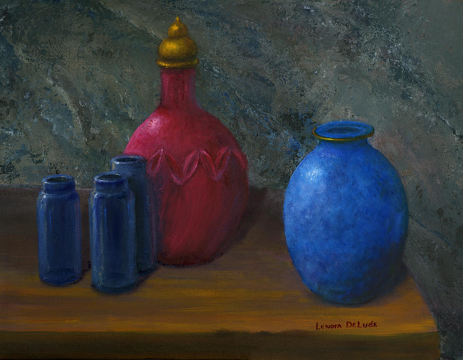 Still Life Art Blue And Red Jugs And Bottles Painting  - Still Life Art Blue And Red Jugs And Bottles Fine Art Print