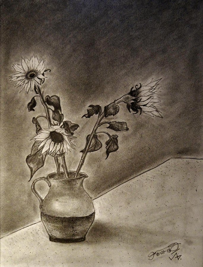 Still Life Ceramic Pitcher With Three Sunflowers Drawing