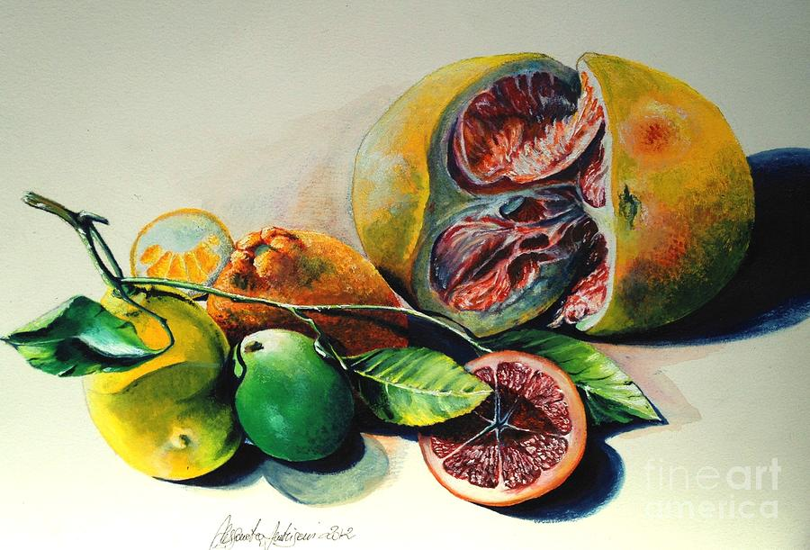 Still Life Of Citrus Painting