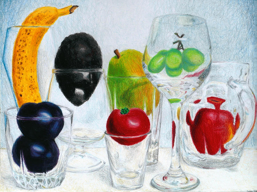 Still Life Of Fruit In Glasses Drawing  - Still Life Of Fruit In Glasses Fine Art Print