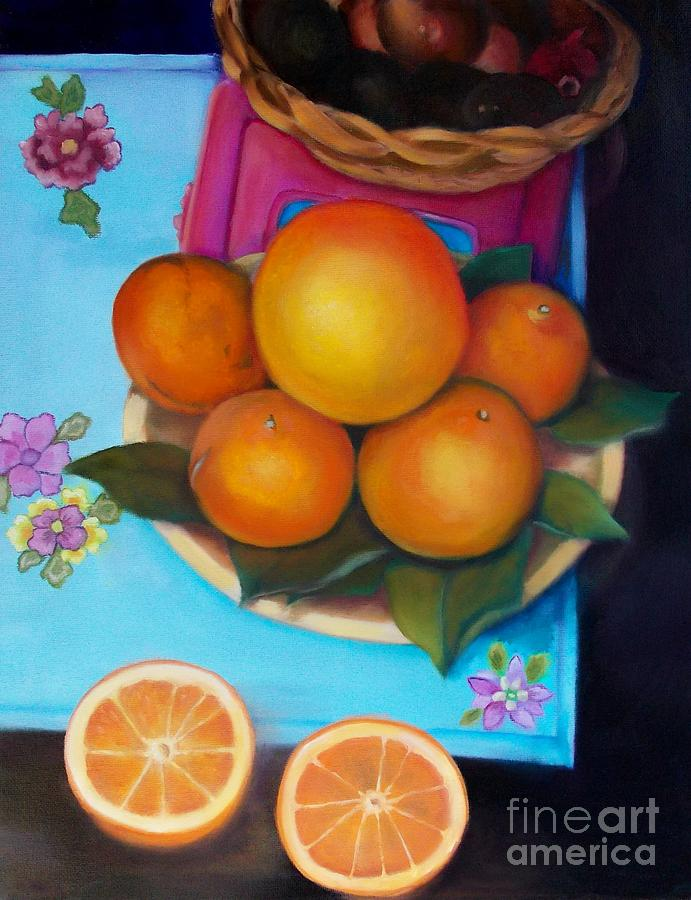 Still Life Oranges And Grapefruit Painting