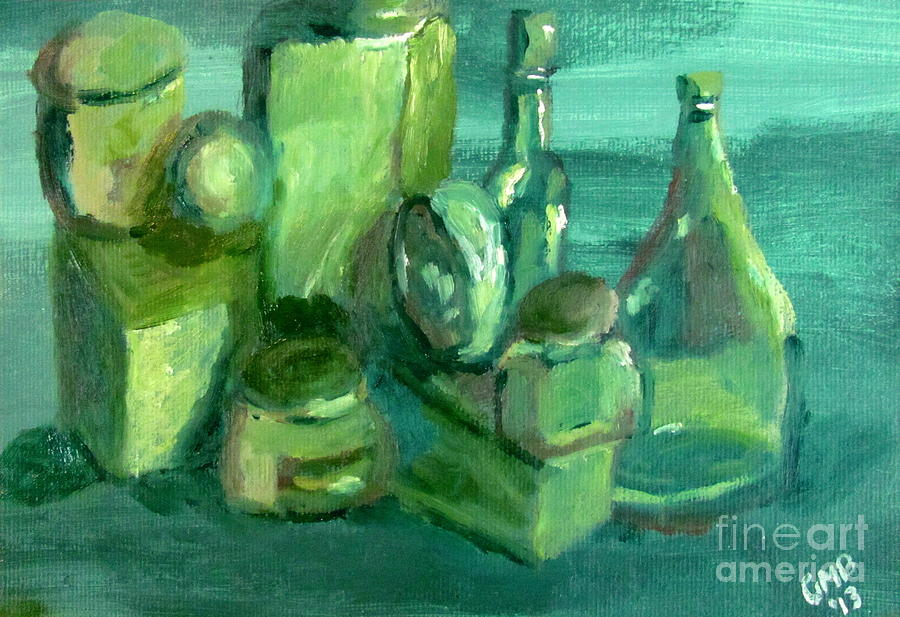 Still Life Study In Green Painting