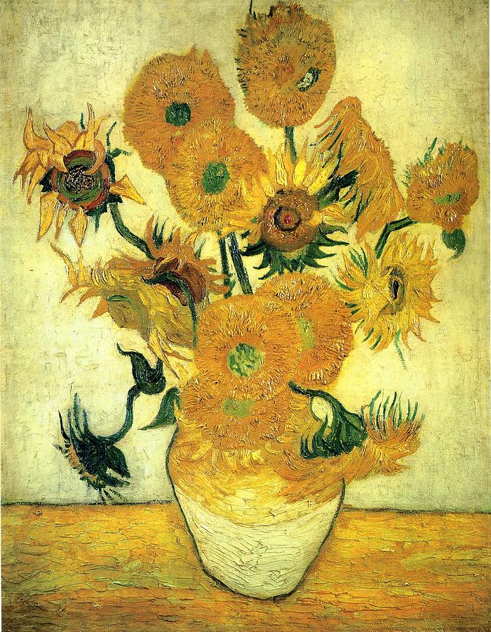 Still Life Vase With Fourteen Sunflowers 1889 Painting  - Still Life Vase With Fourteen Sunflowers 1889 Fine Art Print
