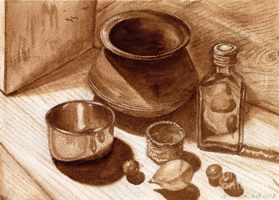 Still Life Walnut Ink Painting