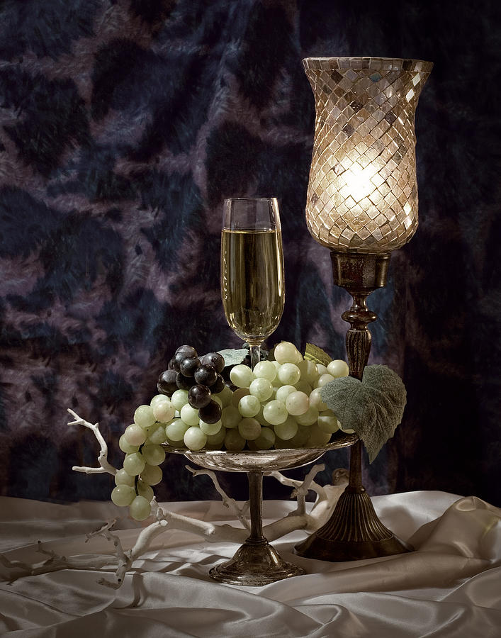 Still Life Wine With Grapes Photograph