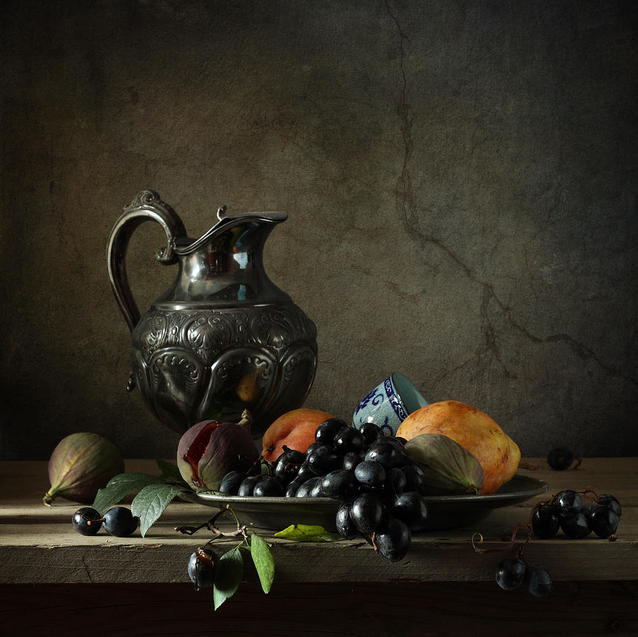 Fine Art Photograph Still Life With A Jug Photograph - Still Life With A Jug And Fruit by Diana Amelina