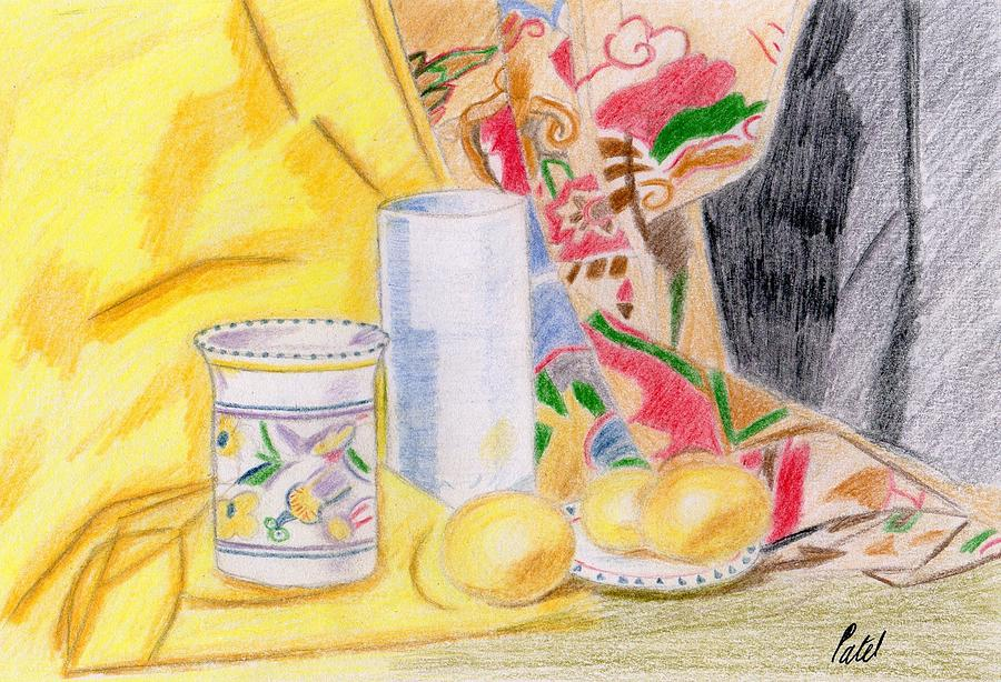 Still Life With A Patterned Background Drawing  - Still Life With A Patterned Background Fine Art Print