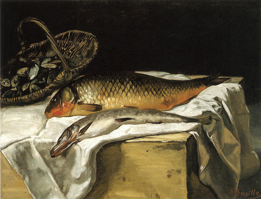 Frederic Bazille Painting - Still Life With Fish by Frederic Bazille