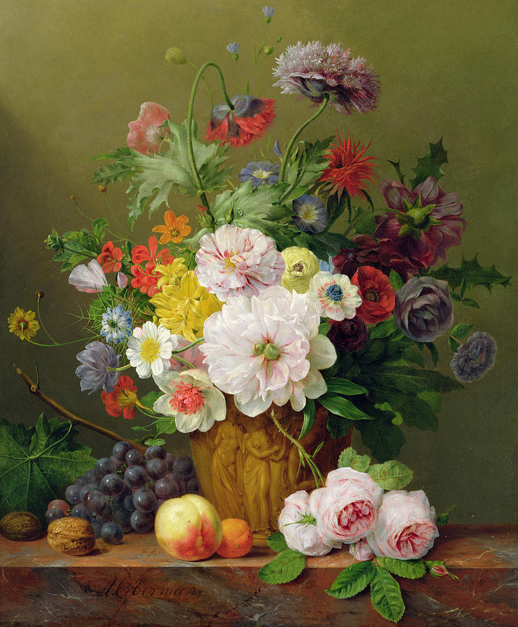Still Life With Flowers And Fruit Painting  - Still Life With Flowers And Fruit Fine Art Print