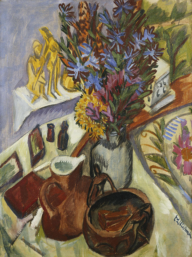 1910s Painting - Still Life With Jug And African Bowl by Ernst Ludwig Kirchner