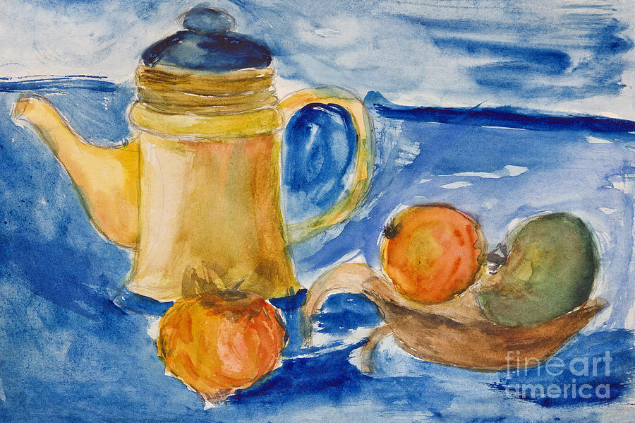Still Life With Kettle And Apples Aquarelle Painting