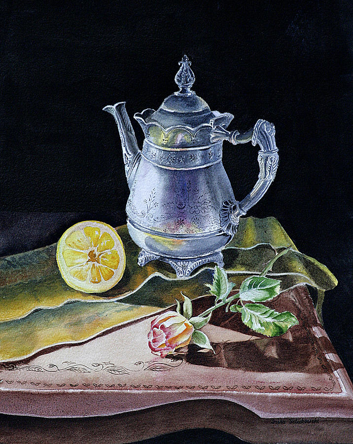 Still Life With Lemon And Rose Painting