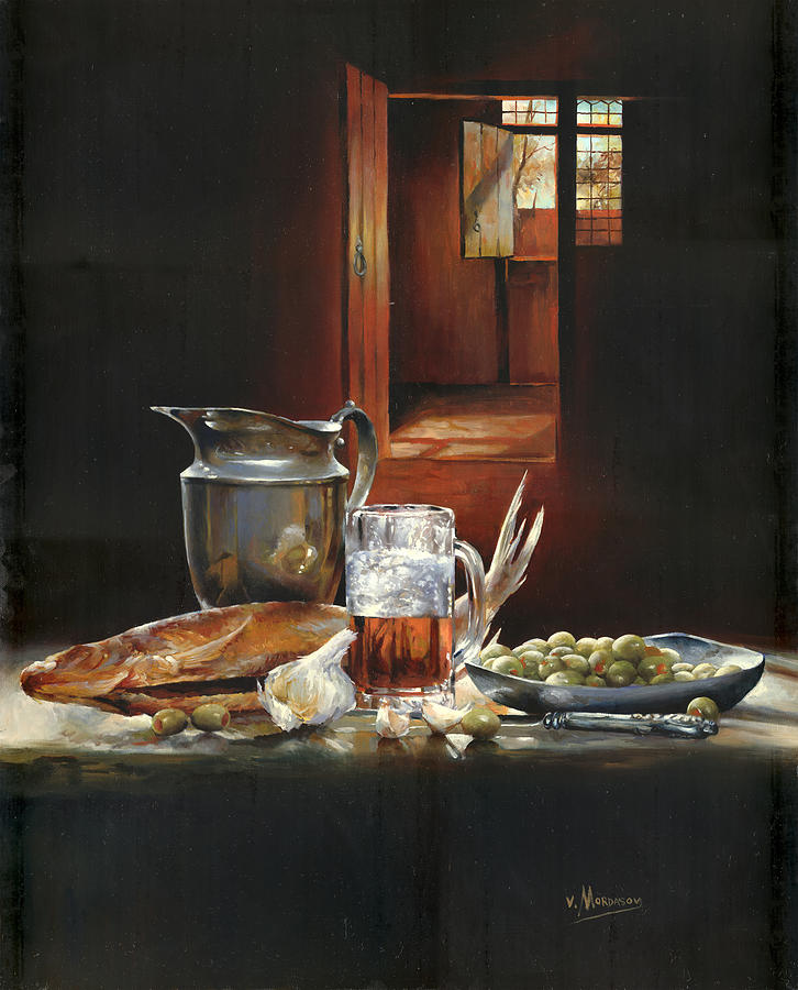 Still Life With Olives And Fish Painting
