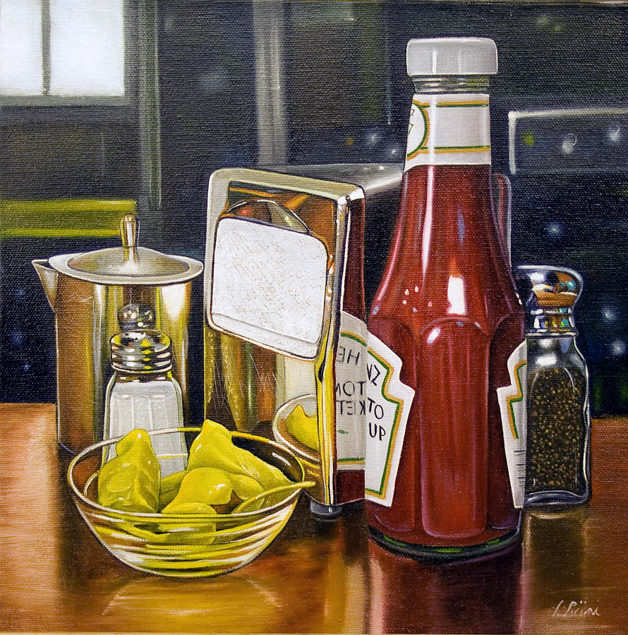 Still life with peppers painting by vic vicini for Diner painting