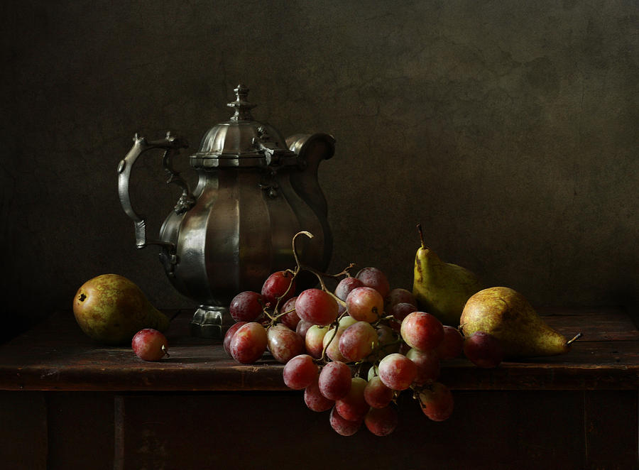 Fine Art Photograph Photograph - Still Life With Pewter Teapot And Grapes And Pears  by Diana Amelina