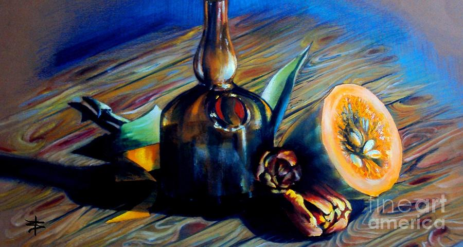 Still Life With Pumpkin And Tulips Painting  - Still Life With Pumpkin And Tulips Fine Art Print