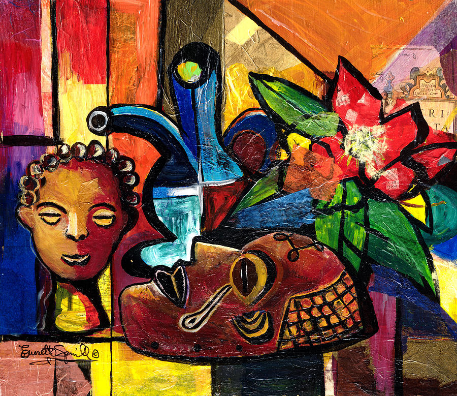 Still Life With Terracotta And Mask 2008 Painting  - Still Life With Terracotta And Mask 2008 Fine Art Print
