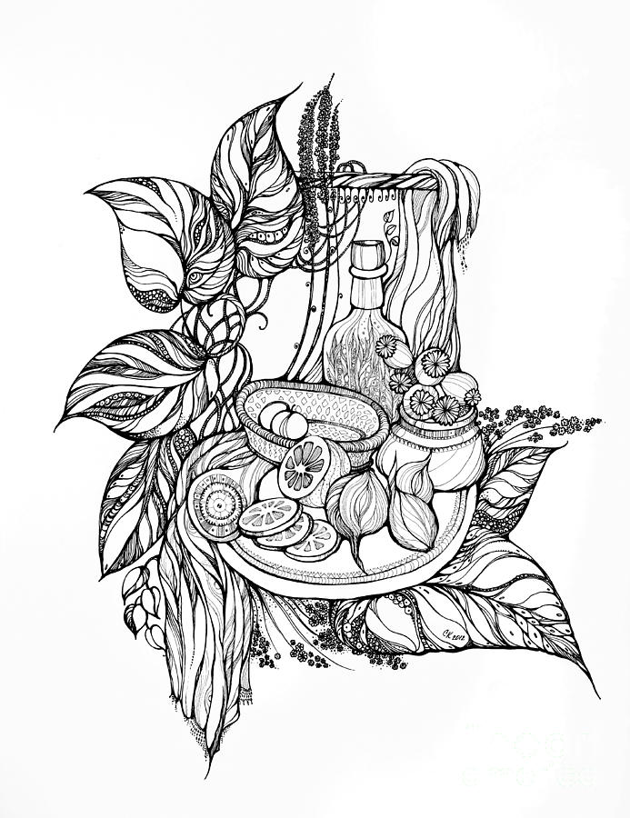 Still Life With Tincture Drawing  - Still Life With Tincture Fine Art Print