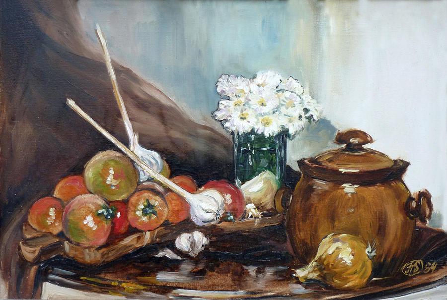 Still Life Painting - Still Life With Tomatos by Irek Szelag