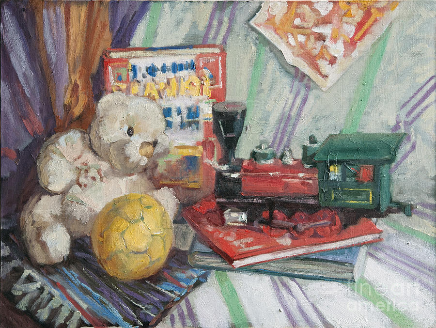 Toys For Painting : Still life with toys painting by sergey sovkov