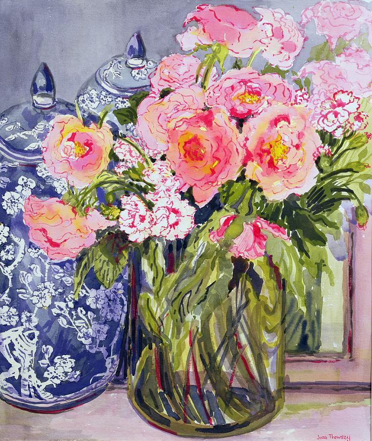 Still Life With Two Blue Ginger Jars Painting
