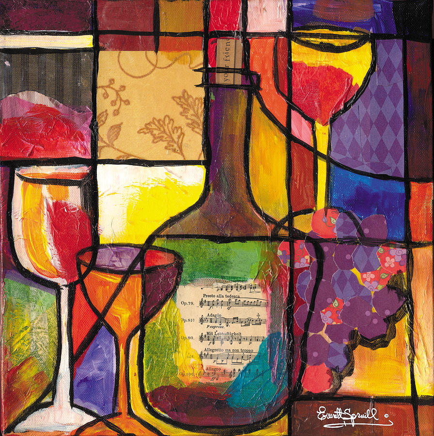 Still Life With Wine And Fruit Mixed Media