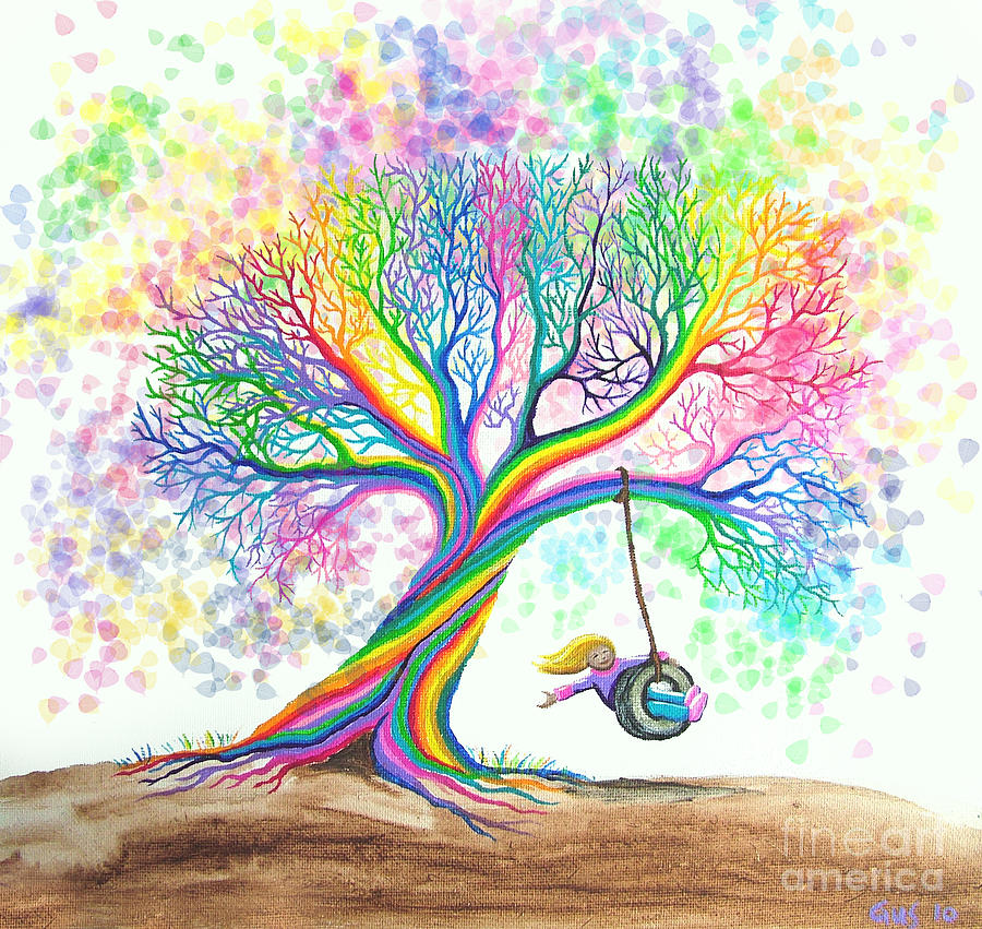 Still More Rainbow Tree Dreams Painting  - Still More Rainbow Tree Dreams Fine Art Print