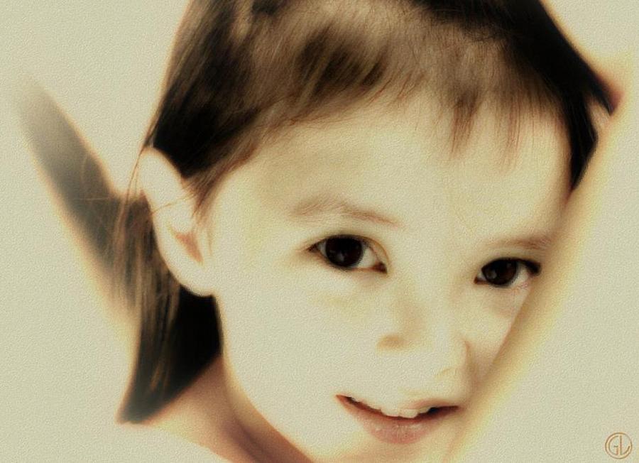 Child Face Digital Art - Still With An Open Face by Gun Legler