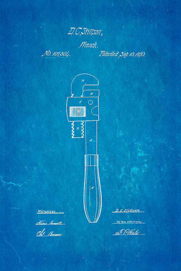 Stillson Wrench Patent Art 1870 Blueprint Photograph
