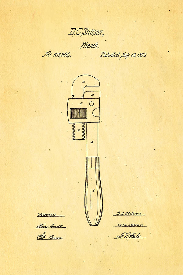 Construction Photograph - Stillson Wrench Patent Art 1870 by Ian Monk