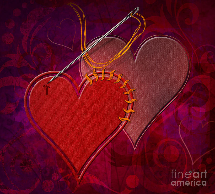 Stitched Hearts Digital Art  - Stitched Hearts Fine Art Print