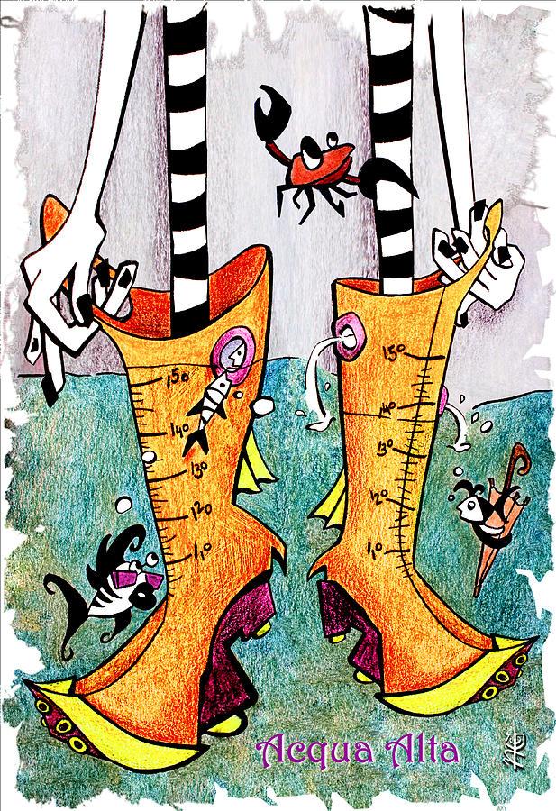 Stivali Drawing - Stivali Acqua Alta - Children Book Illustration - Venezia by Arte Venezia