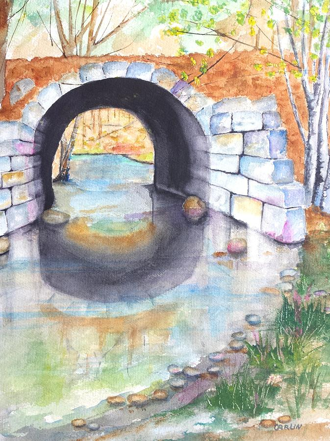 Stone Arch Bridge Dunstable Painting  - Stone Arch Bridge Dunstable Fine Art Print