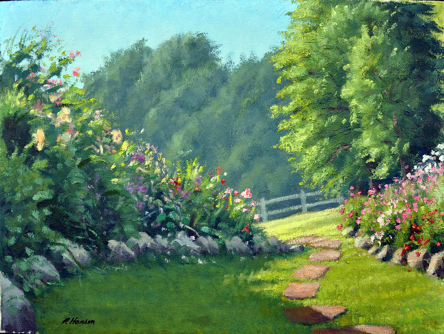 Paintings Of Cobblestone Paths : Stone garden path painting by rick hansen