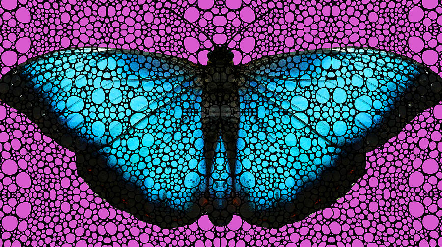 Stone Rockd Butterfly 2 By Sharon Cummings Painting  - Stone Rockd Butterfly 2 By Sharon Cummings Fine Art Print