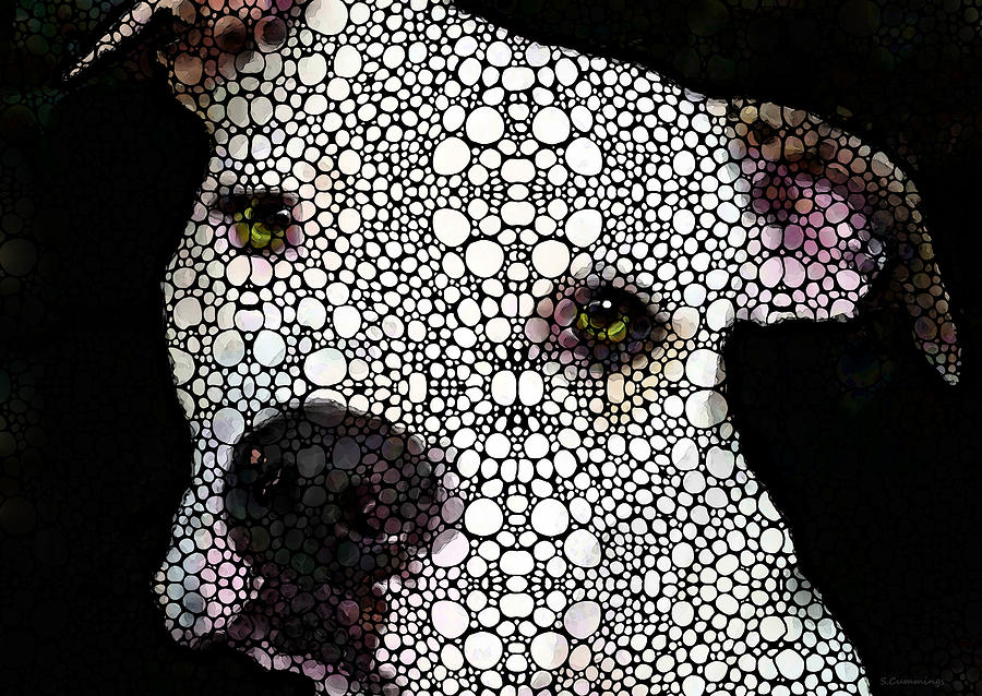 Stone Rockd Dog By Sharon Cummings Painting  - Stone Rockd Dog By Sharon Cummings Fine Art Print
