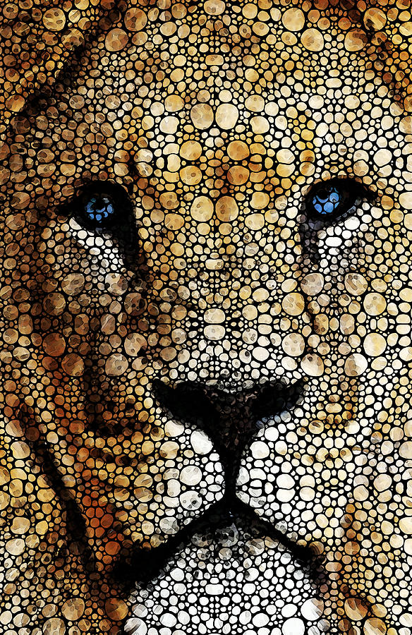 Stone Rockd Lion 2 - Sharon Cummings Painting