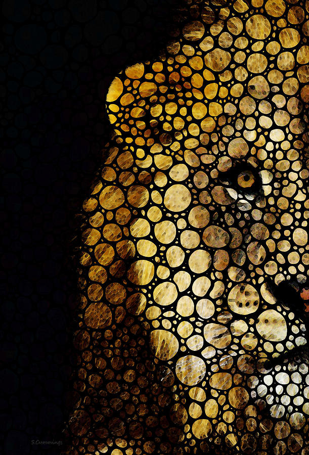 Stone Rockd Lion - Sharon Cummings Painting  - Stone Rockd Lion - Sharon Cummings Fine Art Print