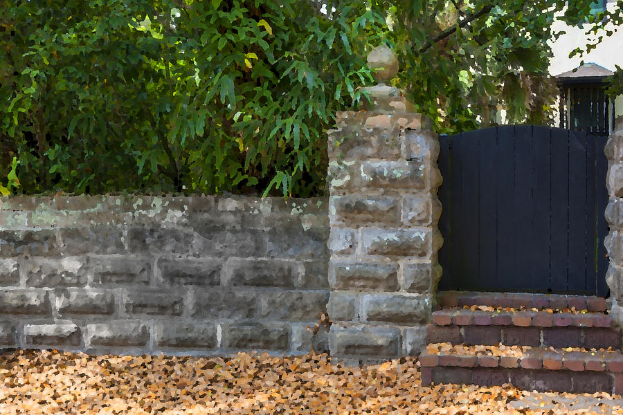 Stone Wall And Gate Photograph