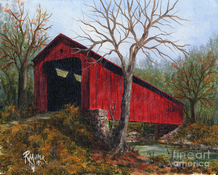 Acrylic Paintings Of Covered Bridges