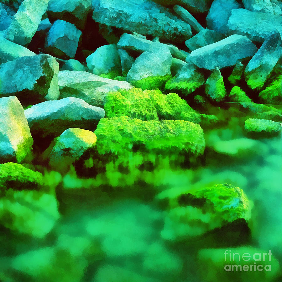 Stones In The Water Painting