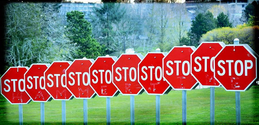 Stop Signs Photograph - Stop by Fraida Gutovich