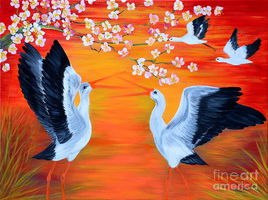 Storks And Cherry Blossom Painting