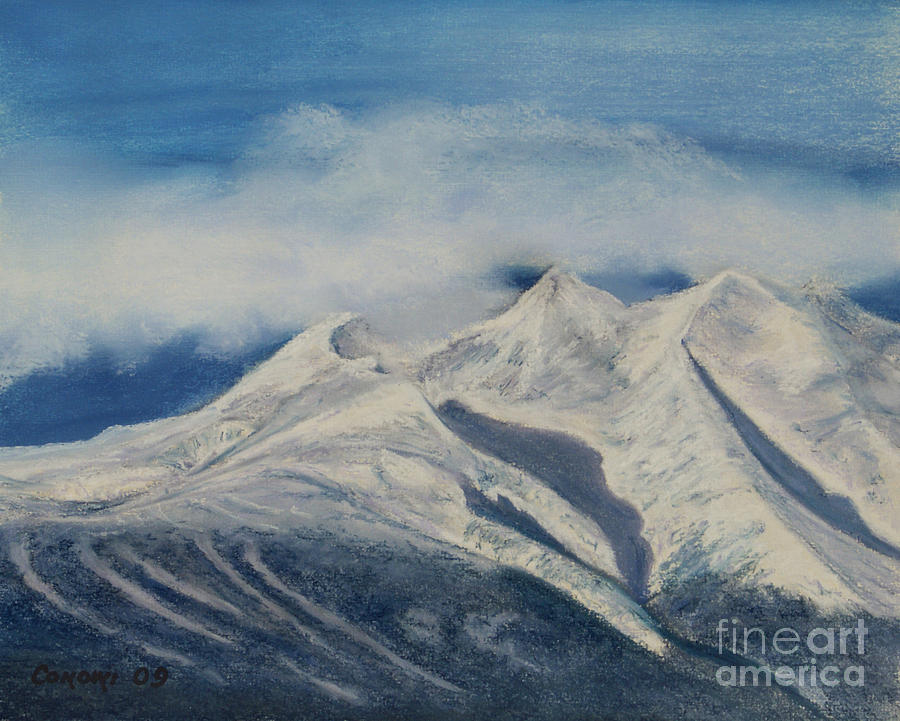 Storm Clouds Over Winter Mountain Blues Painting  - Storm Clouds Over Winter Mountain Blues Fine Art Print