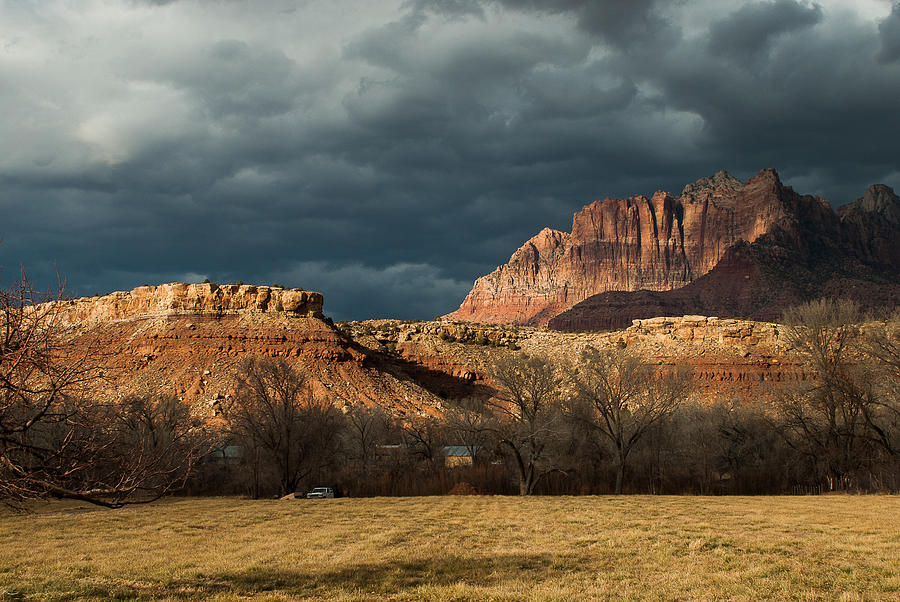 Storm Clouds Rising Over Mount Kinesava Zion Park Rockville Utah Photograph  - Storm Clouds Rising Over Mount Kinesava Zion Park Rockville Utah Fine Art Print