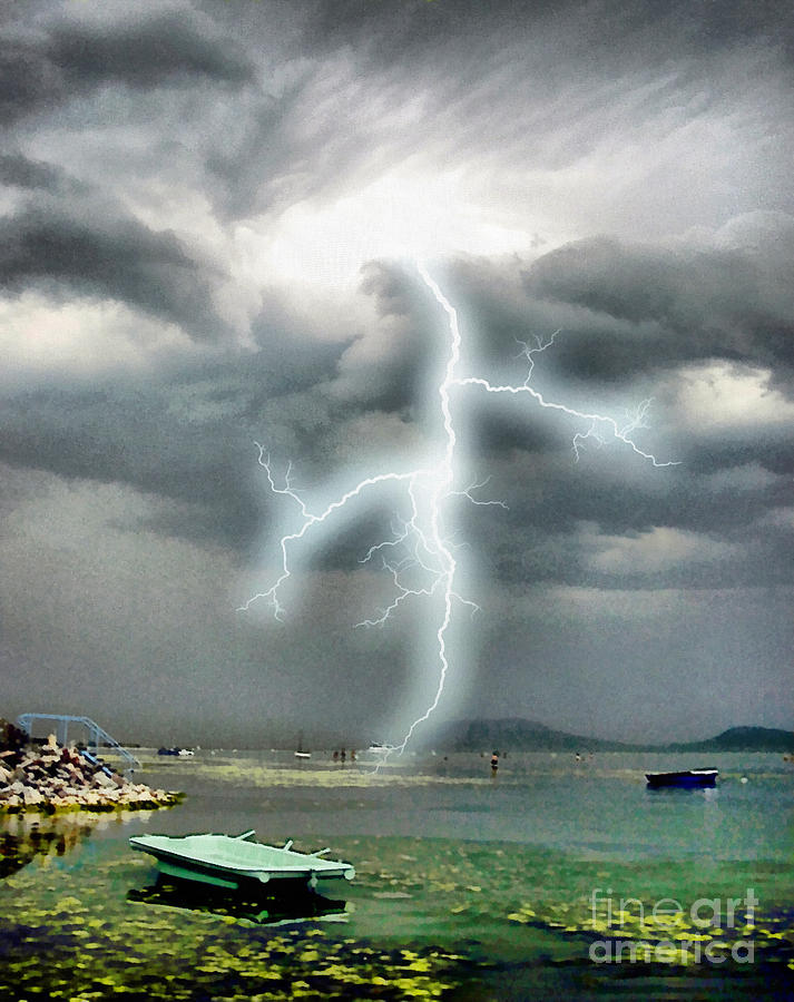 Storm On Balaton Lake Painting