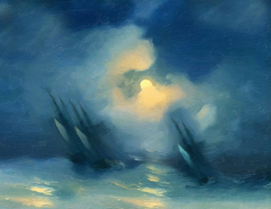 Storm Over Rough Seas Abstract Realism Painting  - Storm Over Rough Seas Abstract Realism Fine Art Print